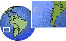 Chile - Easter Island time zone location map borders