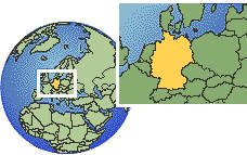 Cologne, Germany time zone location map borders