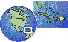 Santo Domingo, Dominican Republic time zone location map borders