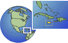 Jamaica time zone location map borders