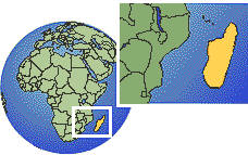 Madagascar time zone location map borders