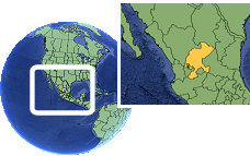 Zacatecas, Mexico time zone location map borders