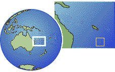 Norfolk Island as a marked location on the globe