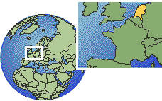 The Hague, Netherlands time zone location map borders