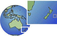 New Zealand - Chatham Islands as a marked location on the globe