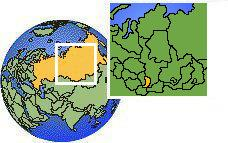 Khakassia, Russia as a marked location on the globe