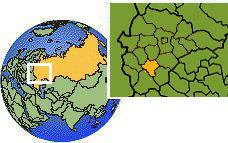 Lipetsk, Russia time zone location map borders