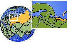 Nenets, Russia time zone location map borders