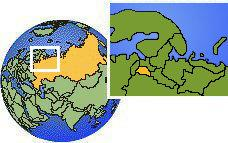 Novgorod, Russia time zone location map borders