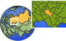 Kazan, Tatarstan, Russia time zone location map borders