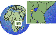 Rwanda as a marked location on the globe