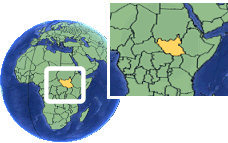 South Sudan, Republic of as a marked location on the globe