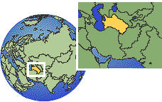 Turkmenistan time zone location map borders
