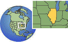 Chicago, Illinois, United States time zone location map borders