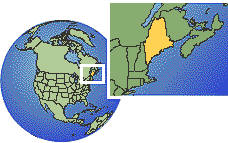 Maine, United States time zone location map borders
