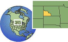 North Dakota (western), United States time zone location map borders