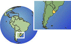 Montevideo, Uruguay time zone location map borders