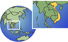 Viet Nam time zone location map borders