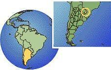 Misiones, Argentina time zone location map borders