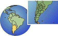 Tierra del Fuego, Argentina time zone location map borders