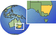 Nueva Gales del Sur, Australia time zone location map borders
