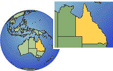 Brisbane, Queensland, Australia time zone location map borders