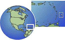 Barbados time zone location map borders