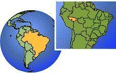 Acre, Brasil time zone location map borders