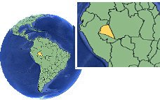 Amazonas (extremo occidental), Brasil time zone location map borders