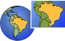 Fernando de Noronha, Brazil time zone location map borders