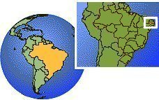 Paraiba, Brazil time zone location map borders