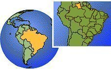 Roraima, Brazil time zone location map borders