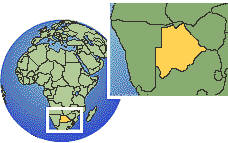 Gaborone, Botsuana time zone location map borders