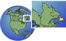 Newfoundland, Canada time zone location map borders