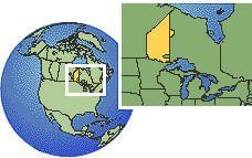 Ontario (oeste), Canadá time zone location map borders