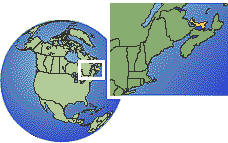 Prince Edward Island, Canada time zone location map borders