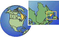 Quebec (extremo este), Canadá time zone location map borders