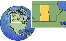 Saskatchewan, Canadá time zone location map borders