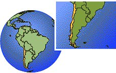 Chile time zone location map borders