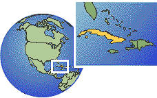 Havana, Cuba time zone location map borders