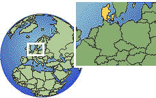 Copenhagen, Denmark time zone location map borders
