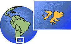 Islas Malvinas (Islas Falkland) time zone location map borders