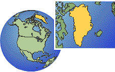 Greenland, Greenland time zone location map borders