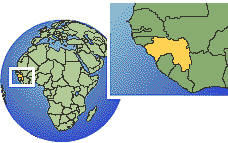 Guinea time zone location map borders