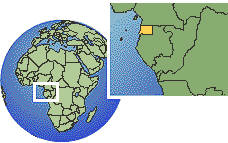Malabo, Equatorial Guinea time zone location map borders
