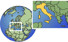 Italia time zone location map borders