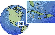 Islas Caimán time zone location map borders