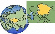 (Eastern), Kazakhstan time zone location map borders