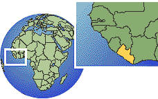 Liberia time zone location map borders