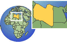 Libia time zone location map borders